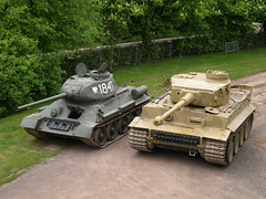 T34/85 & Tiger 131 (Megashorts) Tags: uk outside army war tank military tiger wwii olympus german armor soviet dorset ww2 vehicle e3 fighting russian armour 85 armored zuiko 2009 axis tankmuseum panzer 131 armoured t34 allied zd tigeri 1454mm bovingtontankmuseum t3485 tiger1 panzerkampfwagen panzervi ausfe panzerkampfwagenvi sdkfz181 pzkpfwviausfe bovingtonmuseum