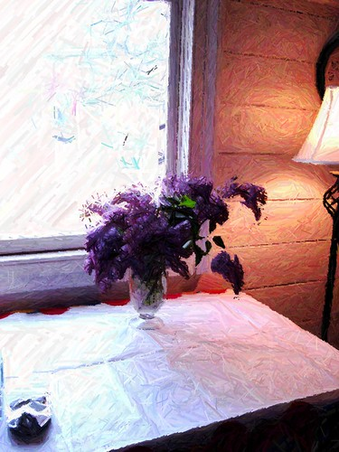 lilacs, colored pencil filter