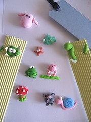 Work in progress! Miniatures made of clay for funny 3D bookmarks (PassionArte) Tags: fish mushroom monster miniature colorful sheep starfish handmade snail frog etsy worm rana lumaca bookmark modellingclay fungo stellamarina segnalibro pecorella pesciolino vermetto mostrino coloratissimi pastamodellabile