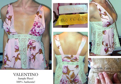 VALENTINO silk & lace top SAMPLE PIECE :  designer sleeveless blouse 0 rtw