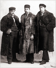 Three men in fur coats and identical shoes (newmexico51) Tags: man men minnesota fur shoes tie bowtie suit cap handlebar mustache mn fuller freeborn furcoats albertlea gaybear watchchain freeborncounty