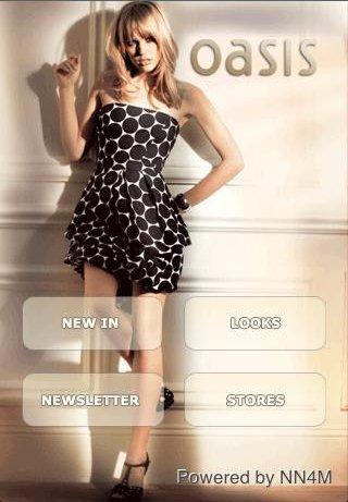 Oasis iPhone app homepage