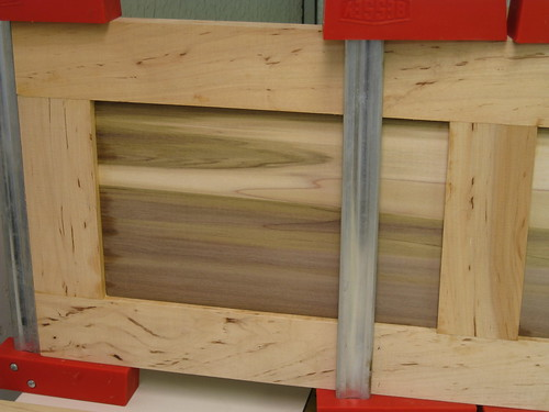 detail of rail and stile door glue-up