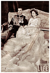 H.M. Mohamed Reza Pahlavi Shah of Iran In Full Military Attire & Empress Soraya - The Wedding Day On February 12, 1951 (D) (Tulipe Noire) Tags: wedding groom bride iran formal royal persia 1950s empress tehran reza mohamed 1951 shah soraia pahlavi