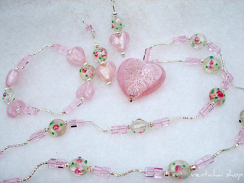 Frosted Pink Hearts Dichroic And Lamp Work Jewelry Set Necklace Earrings and Bracelet