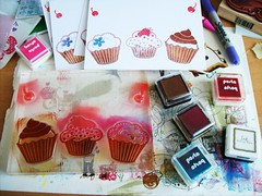 WIP cupcake notecards (Miss Thundercat) Tags: red brown cherry diy strawberry colorful handmade stamps chocolate workinprogress cupcake swap crafty notecards polymer swapbot inkpads