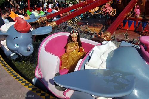 Princess D riding Dumbo