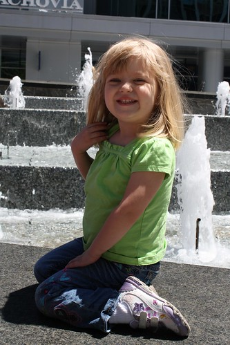 Catie next to (yet another) fountain in downtown Charlotte