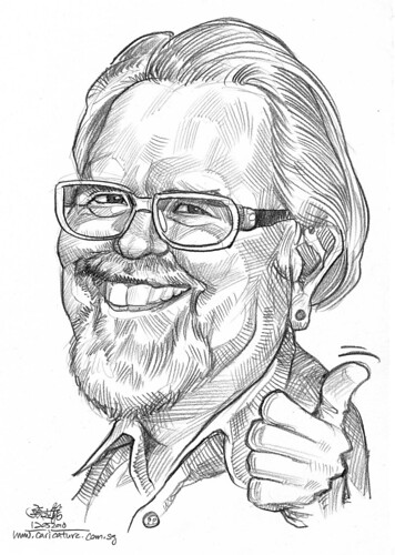 Caricature of David Robert Wooten in pencil