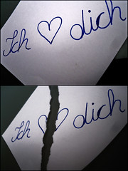 """There will be akway this """"I"""" and """"you"""" (dashurija) Tags: two love paper hurt pieces you blatt papier ich zwei liebe dich schmerz stck zerrissen"""