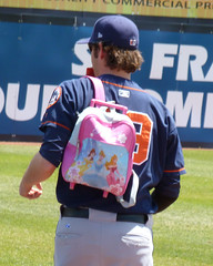 Josh Stinson carries the Princess backpack to the bullpen (paul.hadsall) Tags: newjersey baseball easternleague trenton binghamtonmets