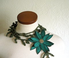 Lotus Flower Lariat- Teal Green (Betsie Withey) Tags: motion flower art mi scarf woodland pretty lily lotus embroidery michigan teal unique huntergreen free fantasy lariat etsy textiles wearable fiberart embroidered beading beaded saugatuck faerie seedbeads tealgreen forestgreen scarflette fiberjewelry artscarf fibernecklace fairywear