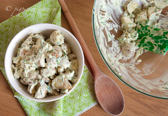 Creamy Potato Salad with Chives & Gherkins