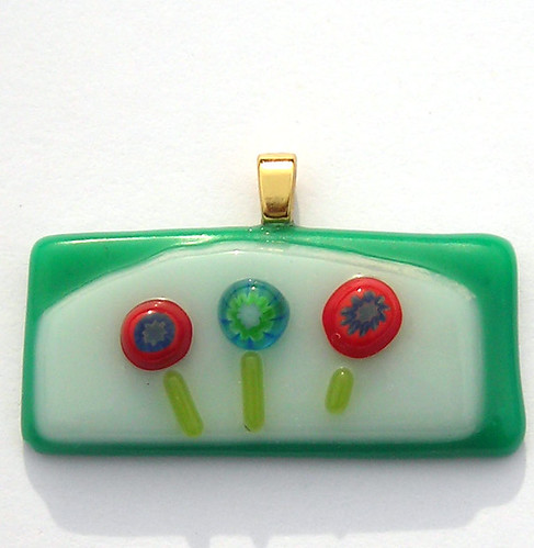 Red and Green Flowers Fused Glass Pendant