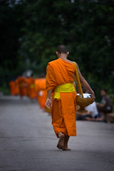 Heading Home (Grumpysumpy) Tags: orange basket bokeh monk laos luangprabang alms mekongriver canon1dmkii canonef70200mmf28lisusm