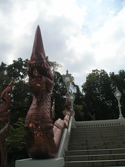 The staircase leading up to Buddhist wat in Krabi