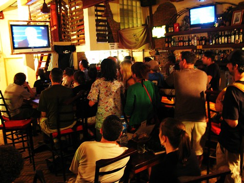Watching Obama's Inauguration at The Warehouse - Siem Reap, Cambodia