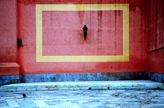 Barletta (Italy) - Pigeon on a square in the old town (Danielzolli) Tags: city italien italy rot yellow italia pigeon ciudad gelb stadt grad laterne taube altstadt oldtown rectangle puglia italie ville sud citta ciutat cittavecchia cascoviejo barletta miasto viereck vielleville linterna mesto starowka pulli wochy apulien laterna italija mezzogiorno suditalia gorod rectangulo sditalien taliansko miesto appulo taljansko tranibarlettaandria rectangolo
