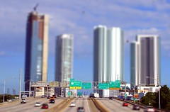 Mc Aurthur Causeway (Jenni Reynolds-Kebler) Tags: auto road game macro cars buildings photography arthur video cool interesting image florida miami perspective shift freeway 100views videogame 300views tilt causeway minature seybold tiltshiftphotography mcarthurcauseway