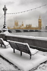 Snow in London II (canary.wharf) Tags: bridge winter snow london composition bench unitedkingdom parliament bigben lamppost snowfall thamesriver gbr ultimateshot
