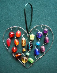 Rainbow Beaded Heart - a suncatcher