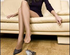 04012009011 (hannahscattles) Tags: highheels dress tan pantyhose taupe sheertowaist sandalfoot 100nylon
