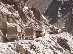 Manali Ley Highway, India (Marc_P98) Tags: india mountain rock danger truck highway traffic scree kashmir himalaya leh manali himachal congestion ladakh jammu pradesh