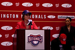 Mary Cheh speaks at a Washington Nationals event