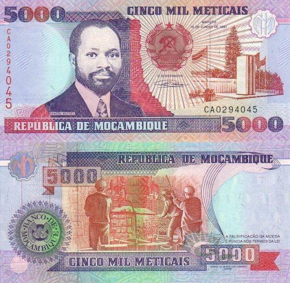 5000 Meticais Mozambik 1991