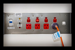 RCD Protected Power Outlets (vignette border) (pj_in_oz) Tags: sydney australia nsw outlets onthewall pluggedin rcd bounceflash canon30d powerpoints stofendiffuser medicalfacility canonef24105f4lis safetyswitch 13april2009 residualcurrentdevice