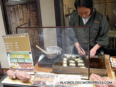 Auntie selling baked tapioca