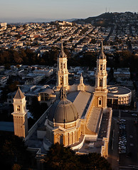 St. Ignatius Church, San Francisco (Michael Layefsky) Tags: sunset aerial kap sanfranciscoca usf kiteaerialphotography jesuit universityofsanfrancisco stignatiuschurch