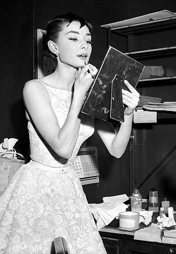 #45 -Audrey Hepburn Applying Lipstick Before Academy Awards Presentation