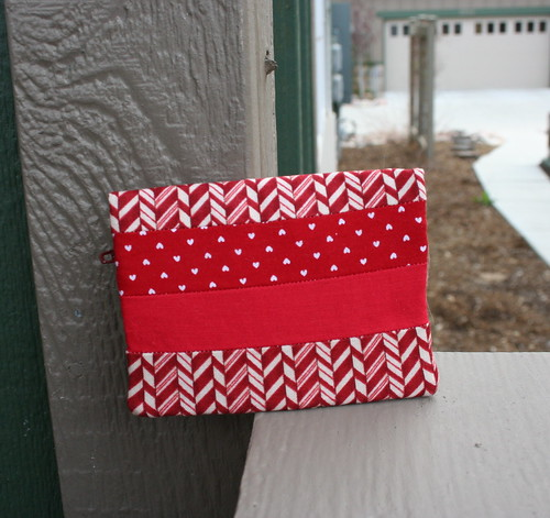 Red Patchwork Zippy Card Wallet