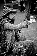 Magical Man BW (labutle) Tags: blackandwhite bw man canon portland costume interesting jester farmersmarket character magic streetperformer pdx entertainer magical crystalball glassball 40d flickrlovers labutle labphotog