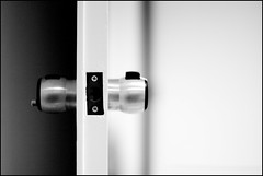 black and white:  128/365 (helen sotiriadis) Tags: door light white black canon dark published 365 knob canonef50mmf14usm threedognight canoneos40d toomanytribbles