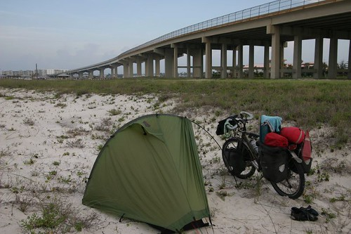 Early morning camp at the Perdido Pass Bridge, Alabama.