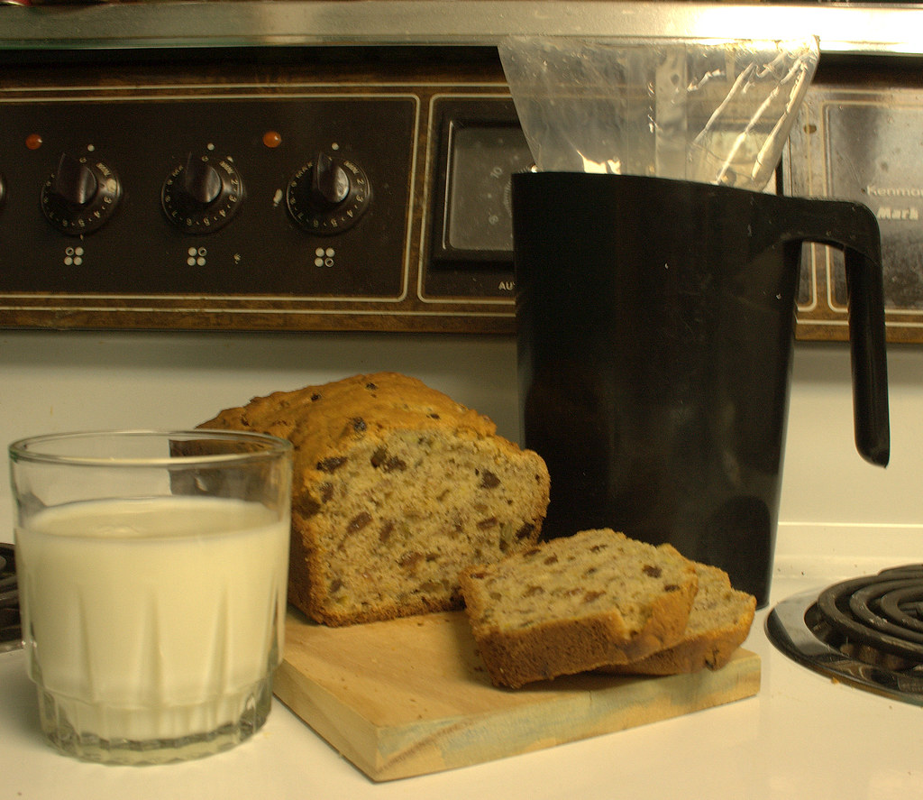 banana bread and bagged milk