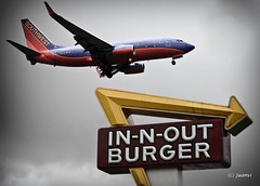 Southwest Burger (California CPA) Tags: california southwest weather dark airplane losangeles burger landing firmware 5d hungry lax thunder innout 5d2