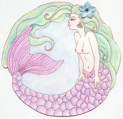 mermaid card (Lady Bathory) Tags: blue flower green art water purple handmade drawing card swap mermaid creature legend greeting myth sirene swapbot merfolk