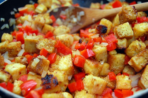 Tofu and Cabbage Stir Fry with Red Pepper