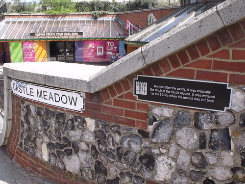 Castle Meadow - road sign - Castle Mall, Norwich