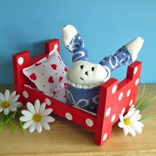 Handmade Wooden Toy Bed for Sock Bunnies