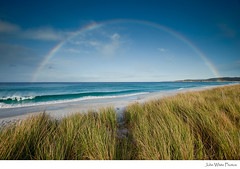 Rainbow over beach and dune grass. Bay of Fires. Tasmania. Australia. (john white photos) Tags: beach coast rainbow surf wave coastal tasmania breaking bayoffires dunegras johnwhitegettyimagesaustralia