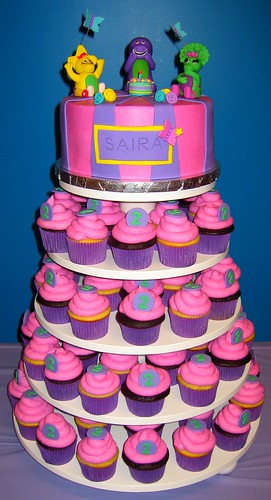 Barney & Friends Cake & Cupcake Tower