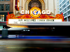 Coco in Chicago (justinwinget) Tags: show chicago motion blur bus marquee lights movement theater conanobrien