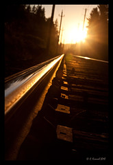 End Of The Line (AlpineEdge) Tags: railroad light sunset reflection hockey beautiful nhl rocks track sad steel traintracks railway line spike bostonbruins canucks endoftheline vancouvercanucks 2011 railroadspike intothelight endoftheseason itsonlyagame welost stanleycupplayoffs rogersarena tithes telepohnewires