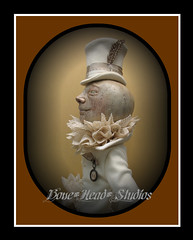 Mr Moonie (Bone*Head*Studios) Tags: moon wool stuffed wire acrylic lace antique fingers feather powder tophat ribbon artdoll mica articulated pendant papermache jointed crackled vintagelace paperclay boneheadstudios