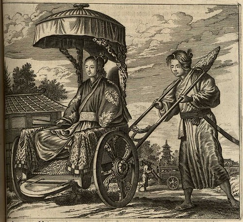 17c Dutch Engraving of reverse rickshaw