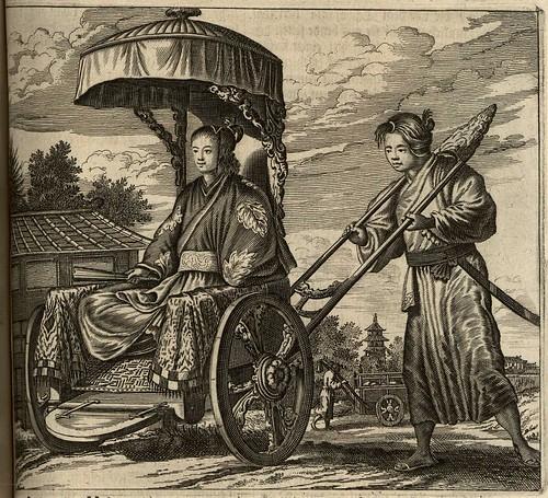 17c Dutch Engraving of reverse rickshaw